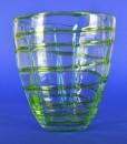 Vaas met groene en blauwe glazen kabels