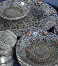 Serviesset met Marokkaanse mozaiek beschildering