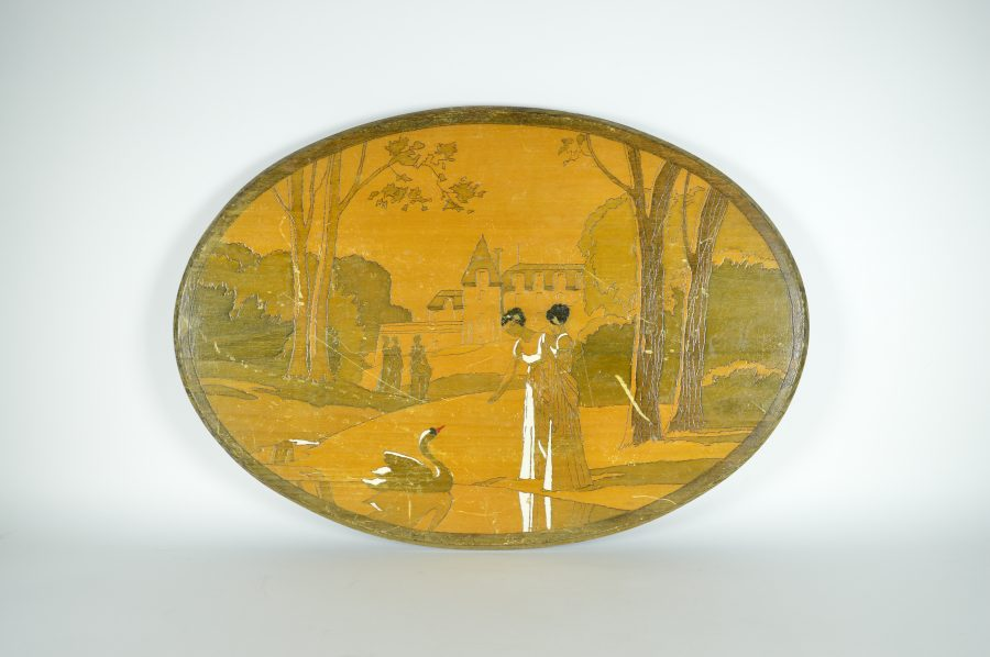 Glass Art Wanddecoratie.Wooden Wall Decoration Oval Art Deco 1937 With Swans Set Bodour