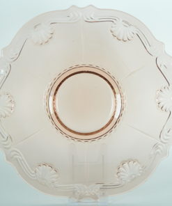 Onderschotel roze glas met bloem- of schelpmotief