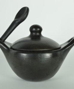Black pottery aardewerk Colombia - pannetje met deksel en lepel