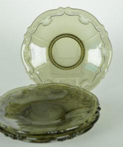 Schoteltje grijs-bruin glas Bloem schelp motief