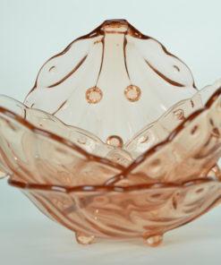Schelpvormig schaaltje roze glas