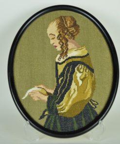 Borduurwerk naar Vermeer brieflezende vrouw