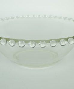 Diepe schaal met parelrand van glazen balletjes